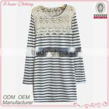 new fashion t shirt boat neck fringe front/back long sleeve casual/daily loose stripe fashion t shirt for girl