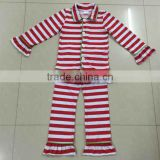 2016 Hot Sale Girls Pajama fashion christmas ruffle striped outfits Baby Sleeping Clothes Top and Pants set