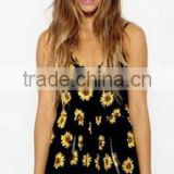 Clothing factory summer women chiffon floral print plunge beach jumpsuit