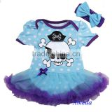 Newborn Baby Blue Polka Dots Purple Pirate Tutu Bodysuit Jumpsuit Pettiskirt Dress Bow 0-18M