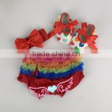 2015 baby red cotton ruffle bloomer set with shoes baby cloth diaper