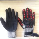 Oil and Gas Resistant Anti Impact & Cut 13G HPPE Liner Nitrile Sandy Coated TPR anti impact gloves
