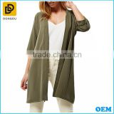 Custom brand 3/4 Sleeve open front fancy women splits chiffon blouse lady kimono tops for autumn