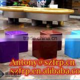 FRP Art Colorful Rgb Led Glowing Frp Led Bar Chair Decoration Modern Outdoor Led Cube/ Led Cube Chair/ Glow Cube
