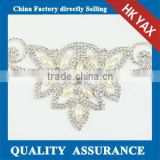 Fashion Rhinestone Triming Crystal,Crystal Rhinestone Trimming Silver Base Dress Chain and Trims for dress belt bride necklace
