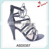 Mixed snakeskin upper high heel lady lace up gladiator sandals with back zipper