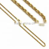 Wholesale Chains Manufacture Brass 2mm 14k Two Tone Gold Rope Chain Necklaces
