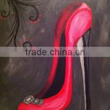 arts and crafts Classical European style Red classic female high-heeled shoes oil painting on canvas home decor