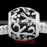 Vnisatr antique silver plated metal beads with flowers carved for european bracelet wholesale PBD2559