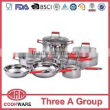 12 pcs silicon handle technique cookware set with induction bottom