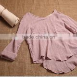 ladies' cotton linen shirt solid color bamboo fabric blouse long sleeve top
