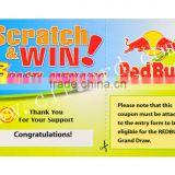 Top Grade Full Color Printable PVC Scratch Card