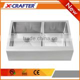 Wholesale double bowl stainless steel rectangular apron farmhouse kitchen sink with Pro CNC Welding Process