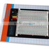 2014 hot sell white ABS metal reed 2390 tie-point testing breadboard universal circuit board