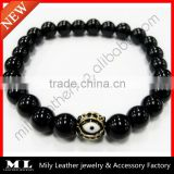 2014 Handmade Natural Black Agate Evil Eye Beaded Bracelets MLAS-029