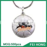 China Supplier metal two sided canada sports printed basketball key ring