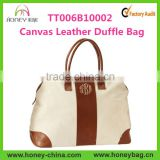 Wholesale Monogrammed Leather Cotton Canvas Weekender Bag                                                                         Quality Choice