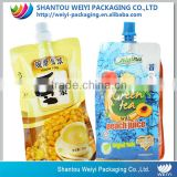 Custom printed clear drink pouch spout/soy milk liquid stand up pouch with spout for beverage