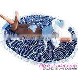 Women Stylish Navy Geometric Round Cotton Beach Towel Katrina Kaif Open Sexy Photo