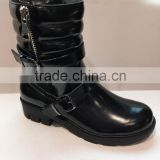 high quality heel black leather long wholesale knee high oots with zipper for women winter boots