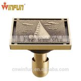 Bathroom Brass shower Anti-Odor Floor drain Antique Bronze finish Fashion design Nice quality