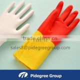 bi-color rubber gloves rubber latex gloves double color unlined rubber gloves CE approved