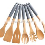 Silicone Handle beech Wood KitchenTools Set Of 7