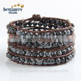 6mm black natural gemstone cheap weave bracelet with beads, leather wrap bracelet