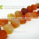 New arrival semi precious stone carnelian rose flower carving beads