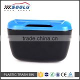 Portable Traveling Mini Plastic Storage Box Auto Trash Can with Double-Sided Adhesive and Clip-On Hooks