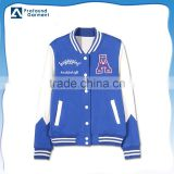 hot style 100%cotton blue and white sport baseball uniform jackets women 2016 winter with letter A embroidery design and buckles