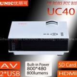 2015 hottest mini projector UC40 with AV USB SD HDMI 1080p support