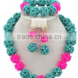 Double Color Ball Crystal Beads Strands Nigerian Bridal Jewelry Set