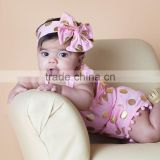 Baby bubble polka dot playsuits baby rompers organic baby clothes with headband