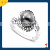 2015 newest wedding jewelry design silver black pearl ring