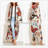 Fashion Casual Long Blouse Street Wear floral chiffon Women chiffon long Kimono Cardigan