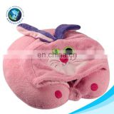 LOW MOQ cheap animal u shaped neck pillow with hat fashion custom funny bunny car neck pillow