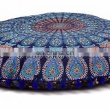"Indian 2017 Handmade Round Meditation Ottoman Pouf Cover 32"" Pillow Cover Mandala Cushion Cover Pillow Case"