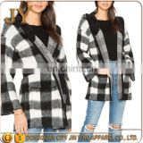 black and white checker pattern sherpa fleece pullover bomber jacket long coat wholesale designer burqa winter coat