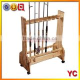 NEW Wood Wheeled 16 Pole Space Saver Lodge Style Fishing Rod Storage Rack Stand