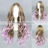 High quality wholesale 80CM long wave purple brown lolita style synthetic hair cosplay party women wig