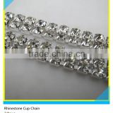 2 Rows Clear Rhinestone Silver Plated Close Roll Cup Chain Trims In Bulk