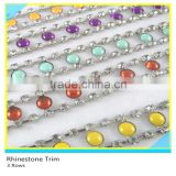 Cheap 888 Crystal Rhinestone Trim 2 Rows Chain mix Color Beads