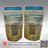 Matte finished kraft paper food bags with clear window, moisture proof resealable ziplock stand up kraft paper pouches