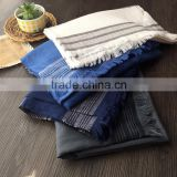 Fashion New Arrival Women Lady Long Plain Cotton Linen Striped Yarn Dyed Scarf