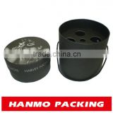 4 bottles beer paper round box with seperate lid black color custom logo printed