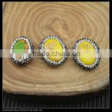 Wholesale LFD-0036B Druzy Yellw Imperial Jasper Stone Pave Rhinestone Oval Shape Connector Beads Jewelry Making