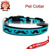 Mustache Dog Collar / Black Mustache on Teal Blue / Pet Accessories / Handmade / Adjustable