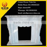 Indoor beautiful carved white marble stone fireplace