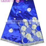 royal blue george lace fabric india raw silk george wrappers with embroidery flower GK056-3